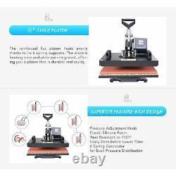 8-in-1 T Shirt Press Professional Swing-Away Heat Press Machine 1250W 12x15