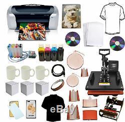 8in1Heat Press, Epson Printer, CISS, Ink Refil for Sublimation Tshirt, Mug, Hat, Plate