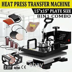 8in1 15 x 15 Heat Press Machine Digital Sublimation T-shirt Mug Plate Hat