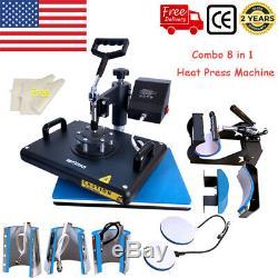 8in1 Combo Heat Press Transfer Machine 1215 Multifunctional T-shirt Mugs Plate