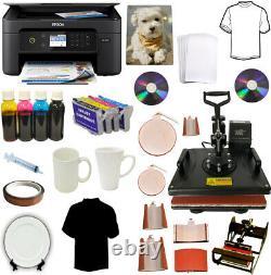 8in1 Heat Press Wireless Printer Sublimation Ink Transfer T-shirts, Mug, Hat, Plate