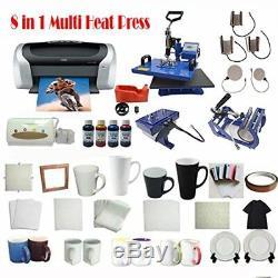 8in1 Sublimation Heat Press Printer CISS T-shirt ART Mug Plate Hat Transfer KIT