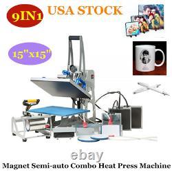 9IN1 Combo Heat Press Machine 15x15 Sublimation Transfer T-Shirt Mug Plate Hat