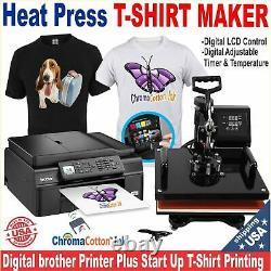 BROTHER PRINTER + HEAT PRESS T-SHIRT MAKER MACHINE COMPLETE STARTER PACK Bundle