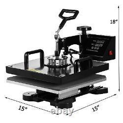 Combo 15x15 T-Shirt Heat Press Transfer Machine 5 IN 1 Sublimation Swing Away