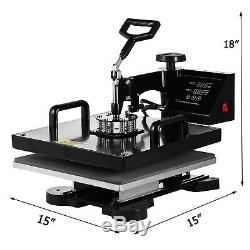 Combo T-Shirt Heat Press Transfer 15x15 Printing Machine Swing Away 5IN1 Hat