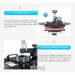 DIY Heat Press Machine 360° Swing Away Digital Sublimation T-Shirt Pad 12X15