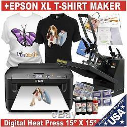 Digital Heat Press 15x15 Transfer Machine Plus T-shirt Maker Printer Starter Kit
