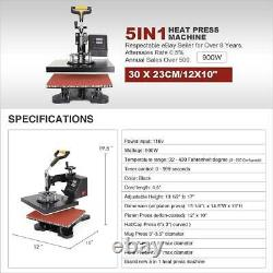 Heat Press Machine Digital Sublimation Swing Away T-Shirt /Plate Hat/Mug 5 in 1