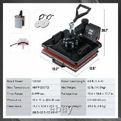 Heat Press Machine Swing Away T-Shirt Mug Hat 12x15 Digital Transfer 5 in 1