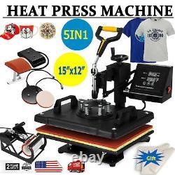 New 5 in 1 Digital 15X12 Heat Press Machine Transfer Sublimation T-Shirt DIY