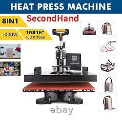 SecondHand 8in1 HeatPress Machine 360°Swing T-Shirt Hat Mug Printingpress 15x15