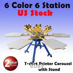 USA! 6 Color 6 Station Screen Printing Machine Press T-shirt Printer Carouse