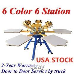 US Stock 6 Color 6 Station Silk Screen Printing Machine T-shirt Press Printer